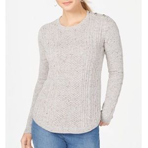 Petite Cable Knit Sweater size LP NWT in Ice Gray